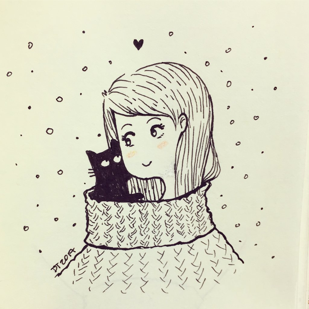 1024x1024 Kitty Inktober Turtleneck Sweater Original Drawing Aceo Catsu