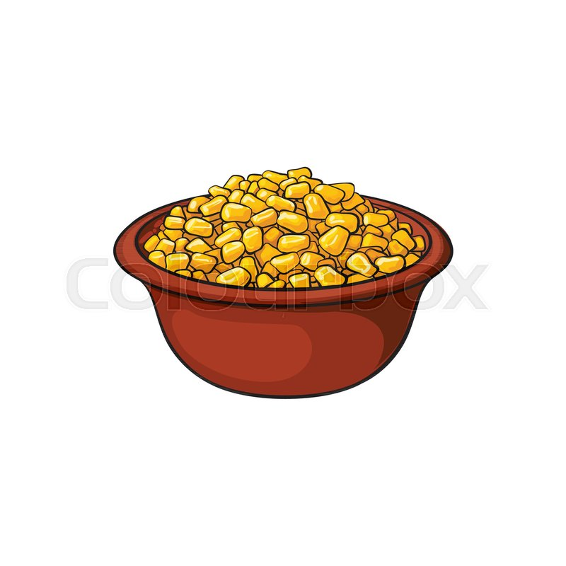 800x800 Hand Drawn Bowl Of Canned, Tinned Sweet Corn, Sketch Style Vector