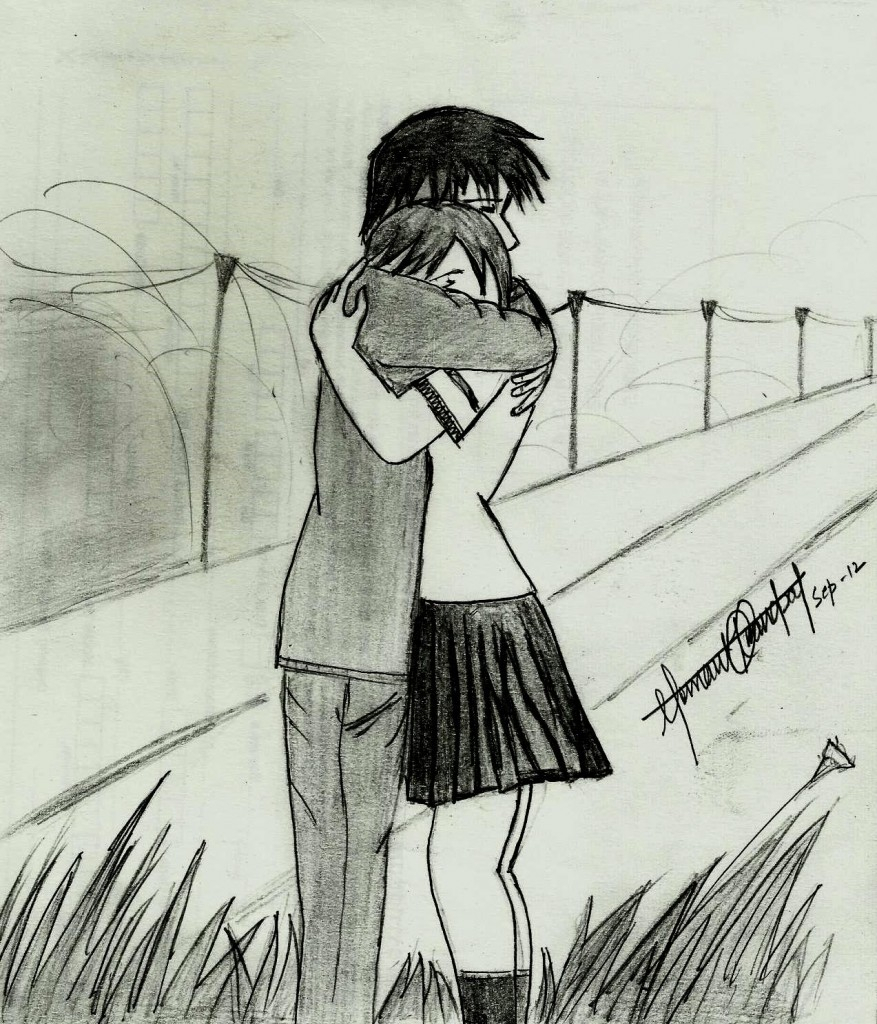 877x1024 Sweet Couples Pencil Sketches Cute And Sweet Couple Pencil Drawing
