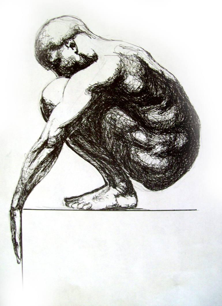 770x1061 Saatchi Art Swimmer Drawing By Eugen Bregu