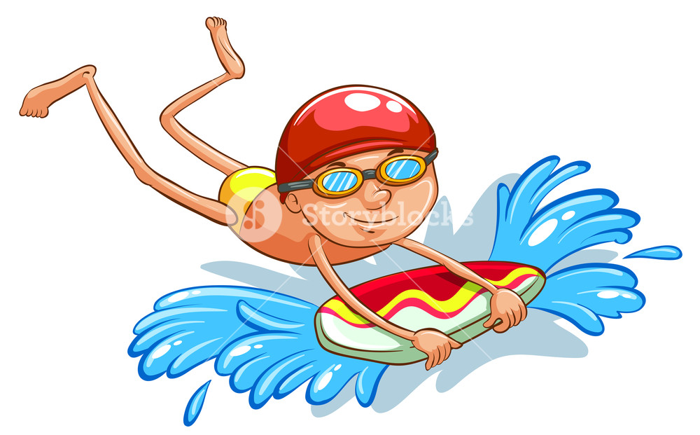 1000x621 A Drawing Of A Young Boy Swimming On A White Background Royalty
