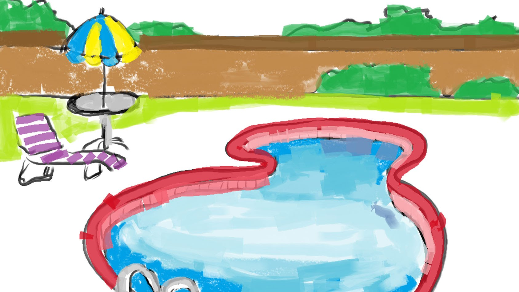 1687x950 How To Draw A Cartoon Outdoor Swimming Pool Within Fence Free