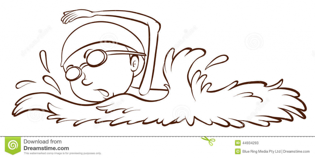 1024x515 Drawing Of A Swimmer A Simple Sketch Of A Boy Swimming Stock