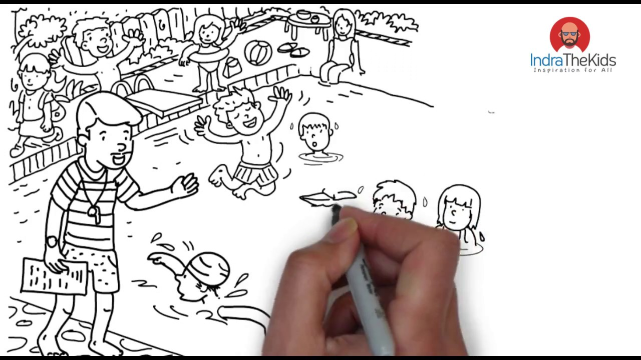 1280x720 How To Drawing Swimming Pool Crowd Kids