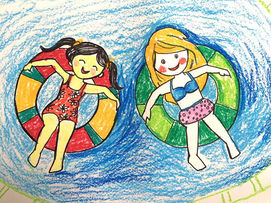 1080x810 Painting Summer For Kids How To Draw A Swimming Pool Step By