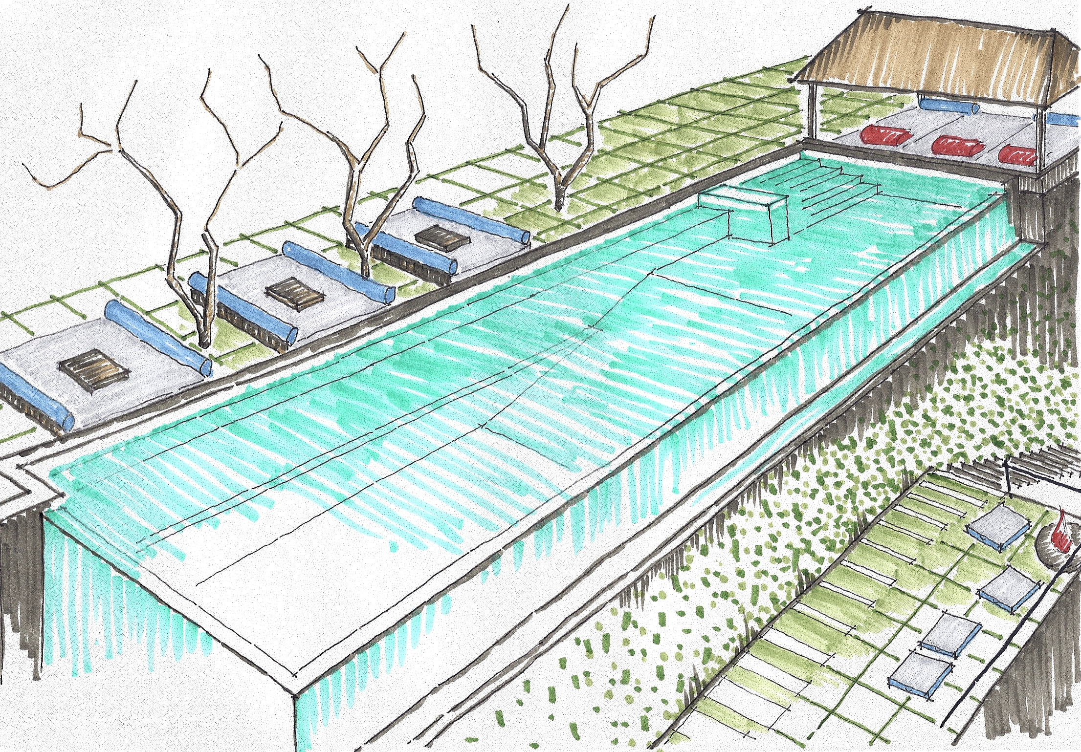 Swimming pools drawing at free for for Pool design drawings