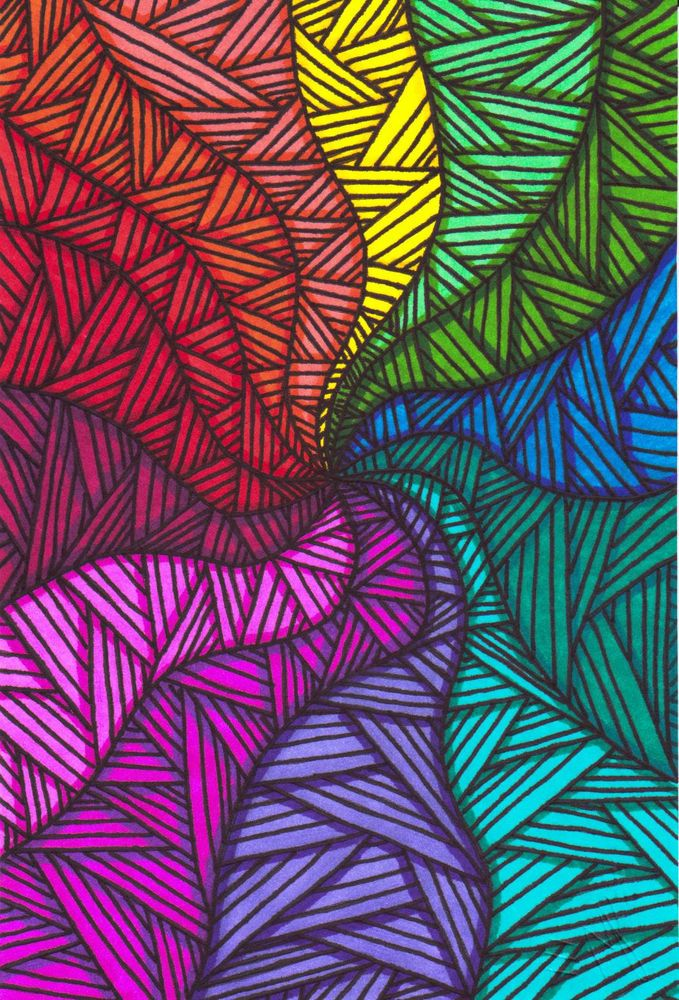 679x1000 Original Color Swirl Zentangle Marker Drawing Signed By Artist