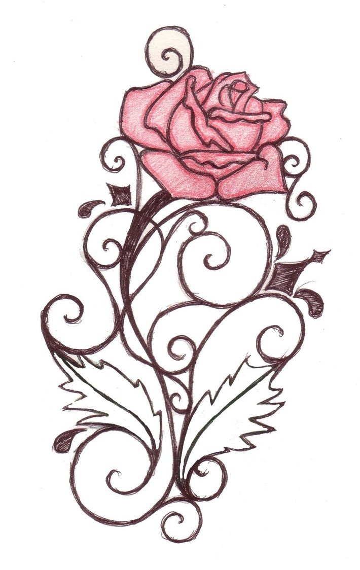 710x1124 Rose Vine Drawing Designs Heart Tattoos Swirl Tattoo Design