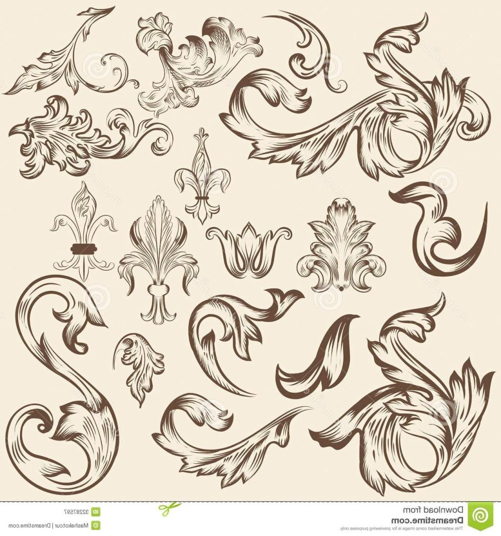 1024x1095 Best Free Set Vector Swirls Design Calligraphic Elements Drawing