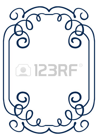 315x450 Simple Vector Frame With Swirls. Drawing Hands Royalty Free