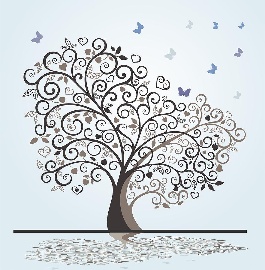 883x900 Tree With Swirls Hearts And Butterflies Drawing By Olivera Antic