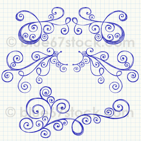 450x450 Hand Drawn Sketchy Swirl Ornaments Vector Illustration By Blue67