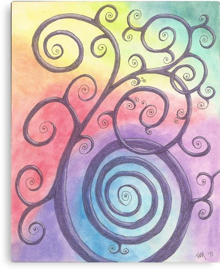 448x550 Purple Briar Swirl Drawing Pastel With Prisma Marker Canvas
