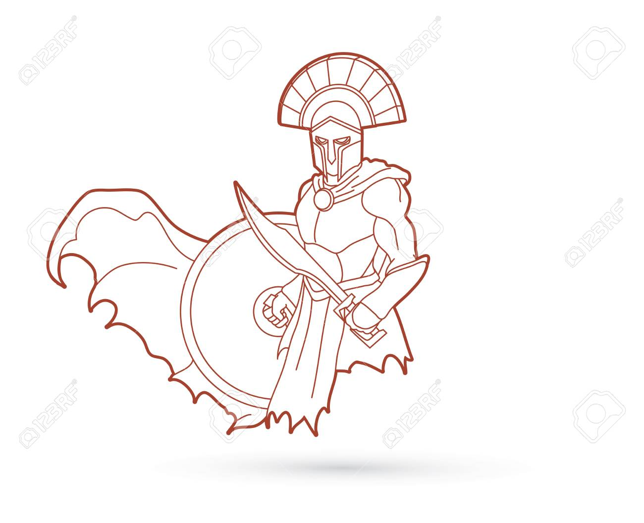 1300x1056 Angry Spartan Warrior With Sword And Shield Outline Graphic Vector