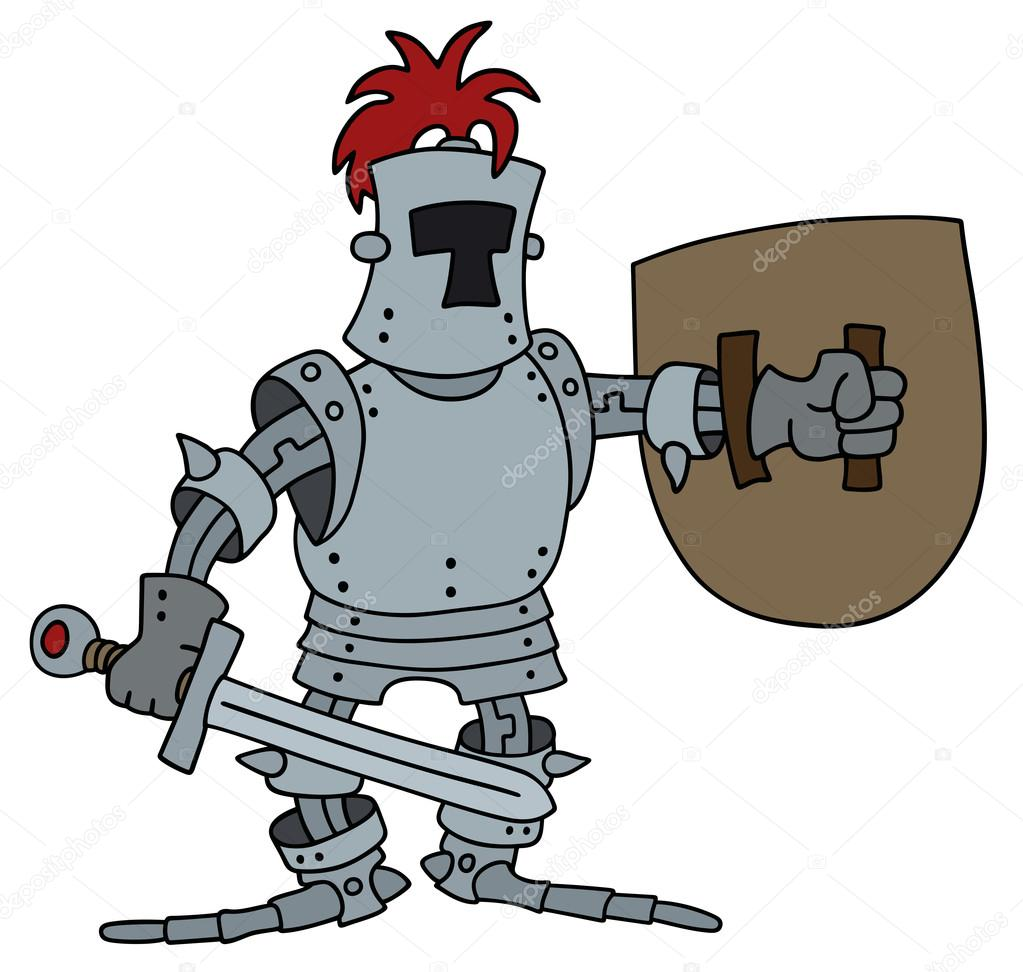 1023x972 Funny Knight With A Sword And Shield Stock Vector 2v