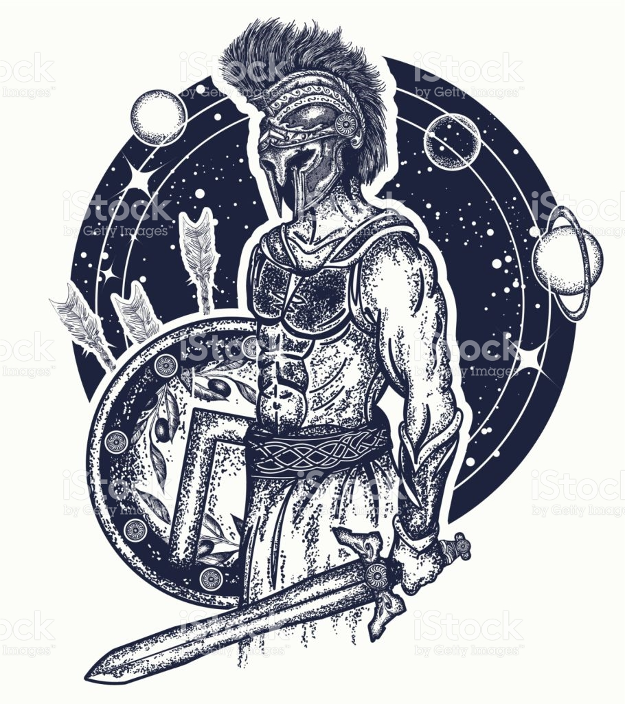 910x1024 Gladiator Spartan Warrior Holding Sword And Shield Tattoo Art
