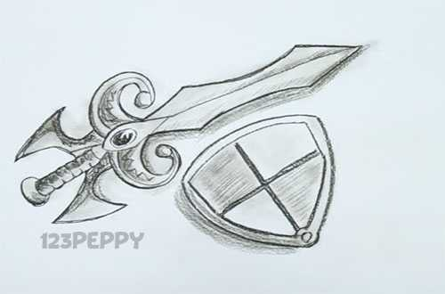 500x330 How To Draw A Medieval Sword And Shield Drawing Tutorials