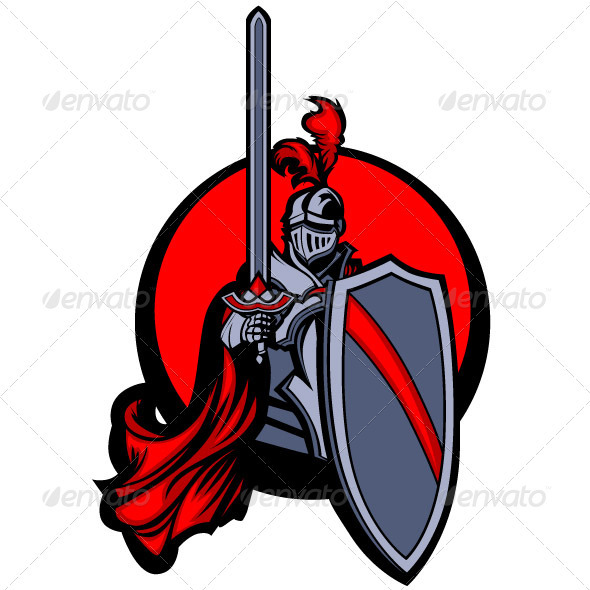 590x590 Medieval Knight With Sword And Shield Vector Masco By Chromaco