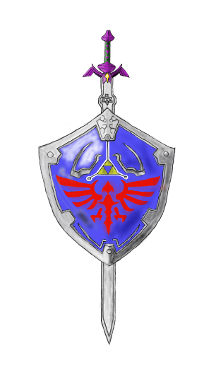 306x523 My Drawing Of The Master Sword And Hylian Shield