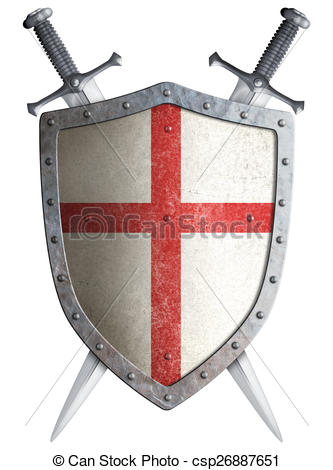 333x470 Old Medieval Crusader Shield And Two Crossed Swords Stock