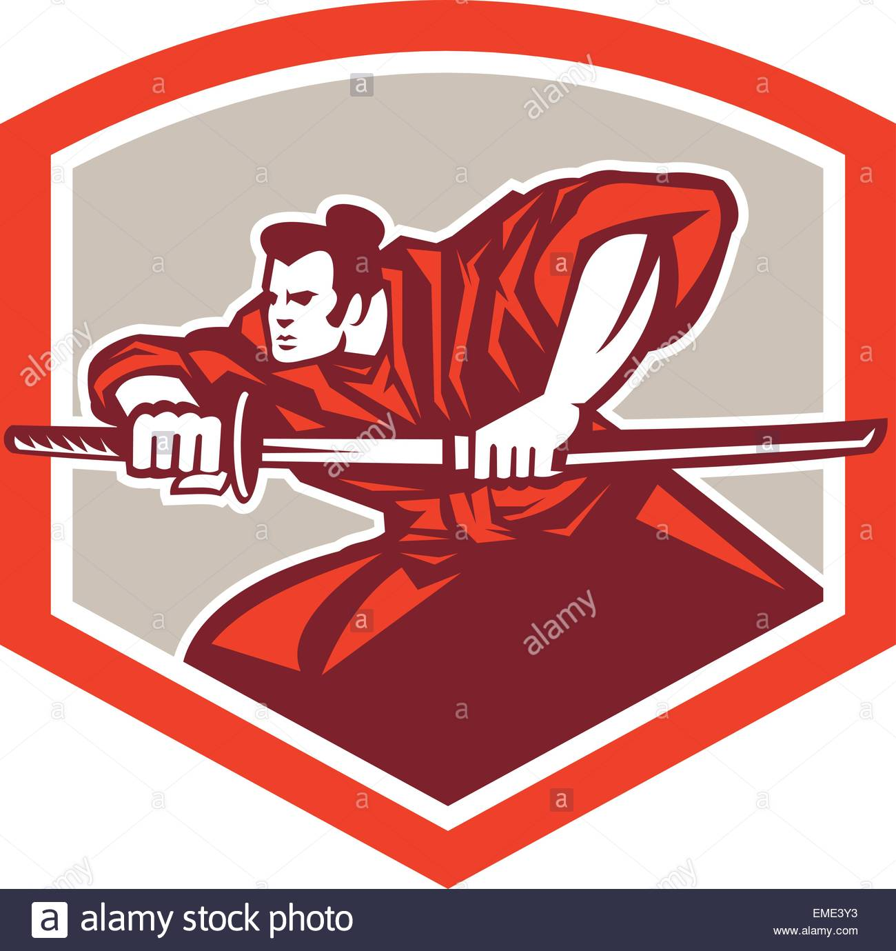 1300x1379 Samurai Warrior Drawing Katana Sword Shield Stock Vector Art