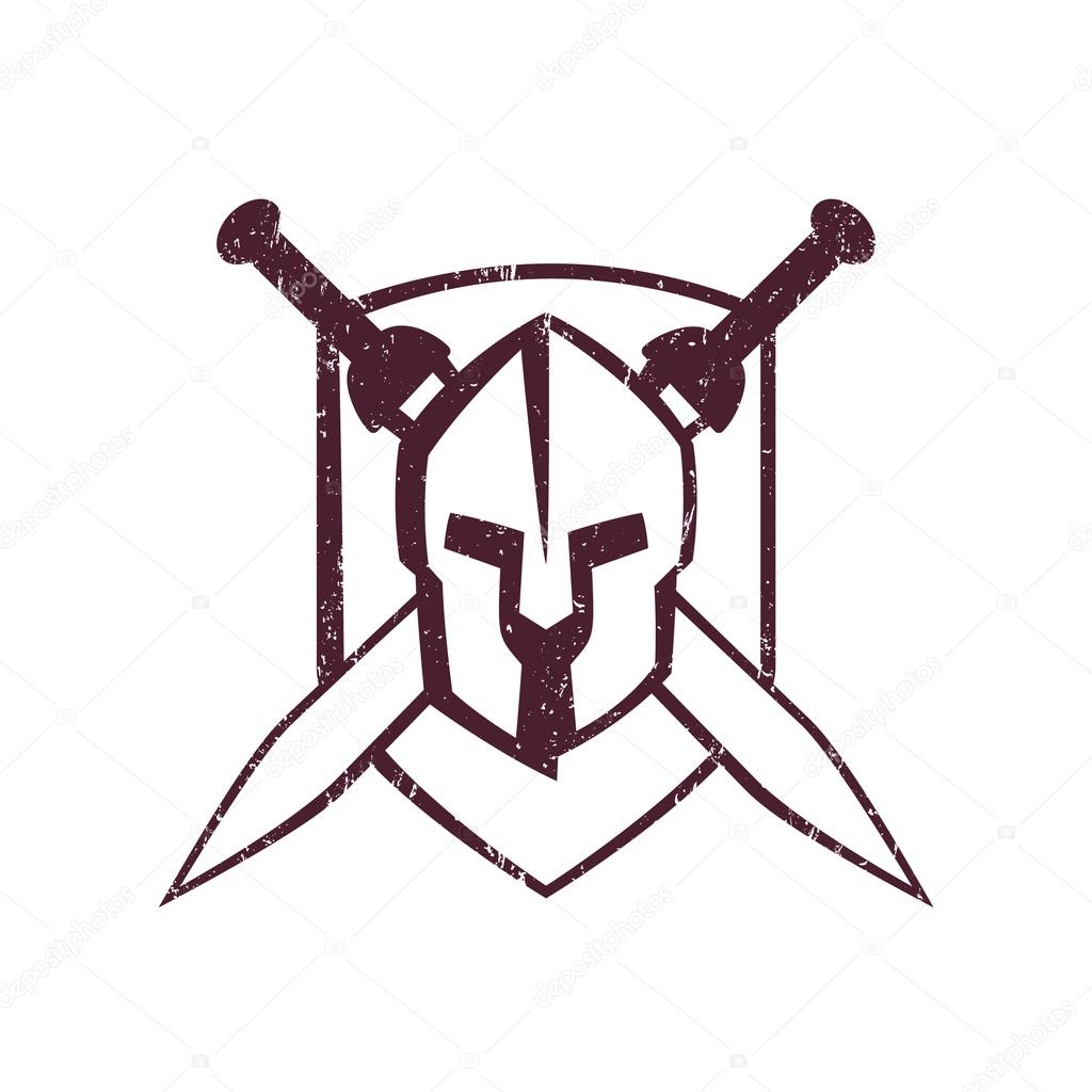 1024x1024 Spartan Helmet With Crossed Swords On Shield Stock Vector