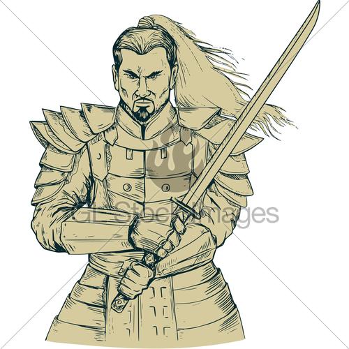 500x500 Samurai Warrior Swordfight Stance Drawing Gl Stock Images