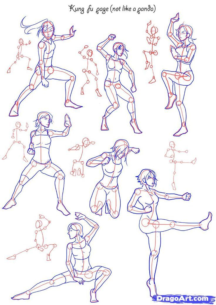 736x1040 How To Draw Anime Poses How To Draw Fighting Poses, Step By Step