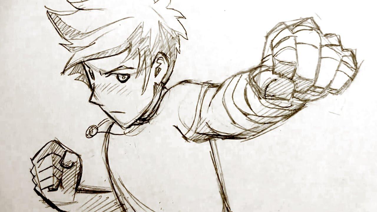 1280x720 How To Draw Manga Fighting Pose Punching Fists!