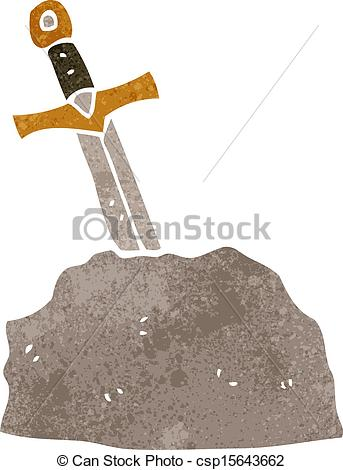 343x470 Retro Cartoon Sword In Stone. Retro Cartoon Illustration.