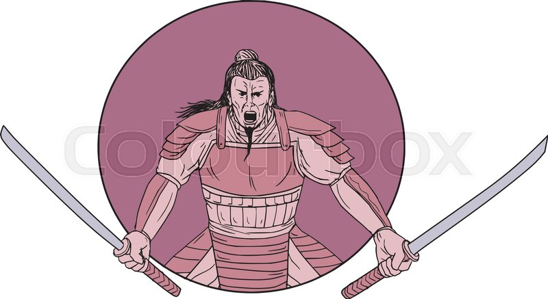 800x437 Drawing Sketch Style Illustration Of A Raging Samurai Warrior