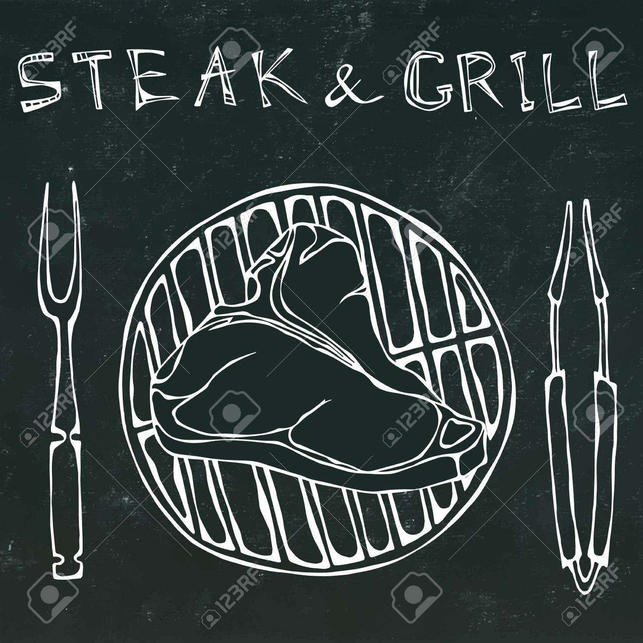 1300x1300 T Bone Steak On The Grill For Barbecue, Tongs And Fork. Lettering
