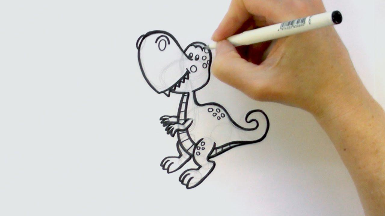 1280x720 How To Draw A Cartoon Tyrannosaurus Rex