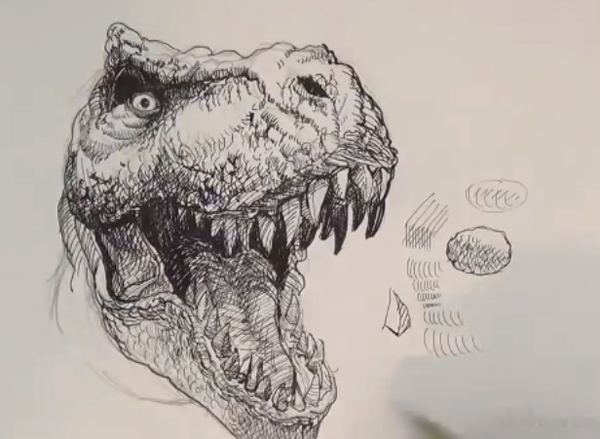 600x439 How To Draw T Rex
