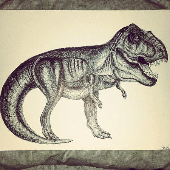 570x570 Original T Rex Pen Drawing
