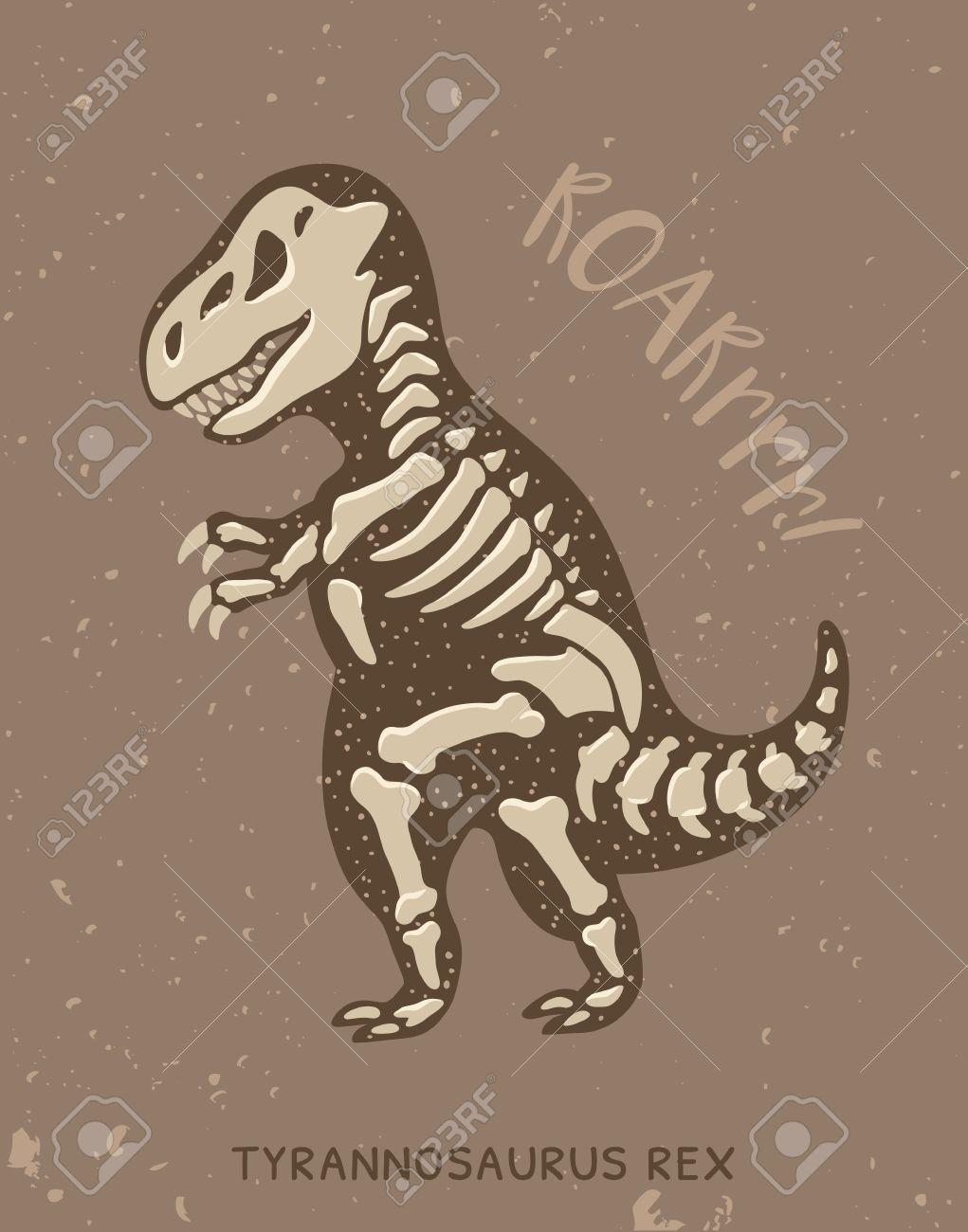 1021x1300 Cartoon Card With A Tyrannosaurus Rex Skeleton And Text Roar