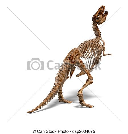 450x470 Rendering Of A T Rex Skeleton And Shaow Over White Stock