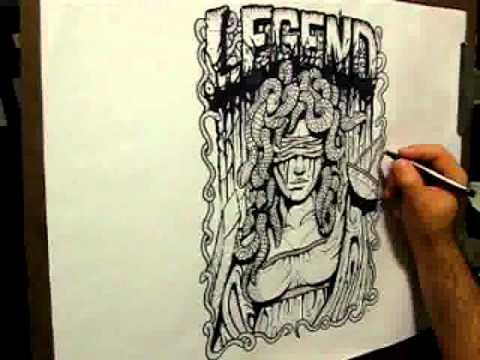 480x360 Time Lapse Hand Drawn Tshirt Design For Rise Records' Legend