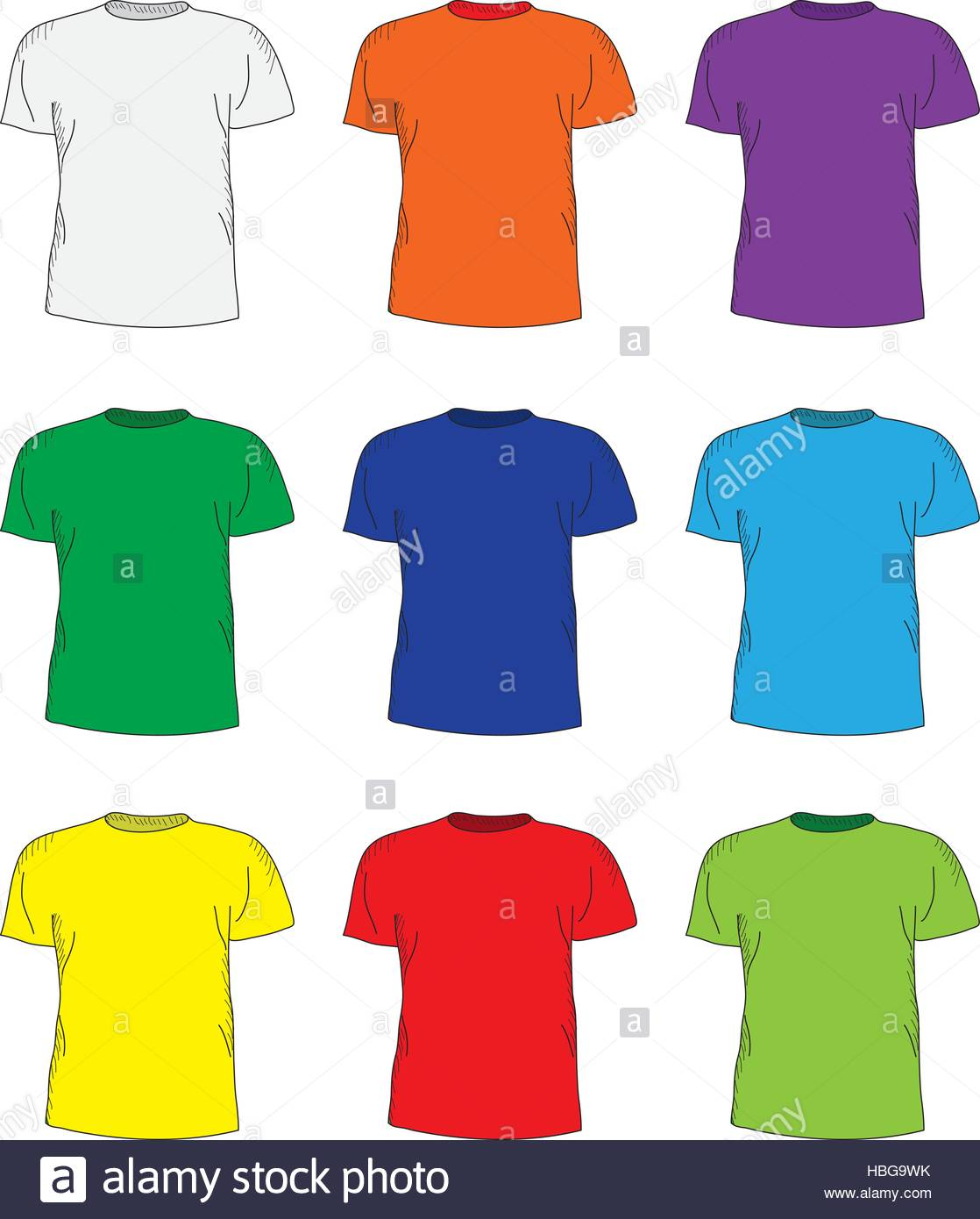 1118x1390 Men's T Shirts Design Template Set. Multi Colored T Shirts Stock