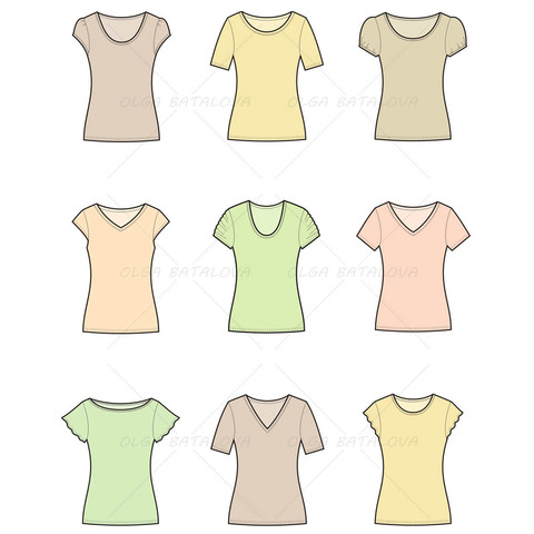 480x480 Women's T Shirt Fashion Flat Template Fashion Flats, Template