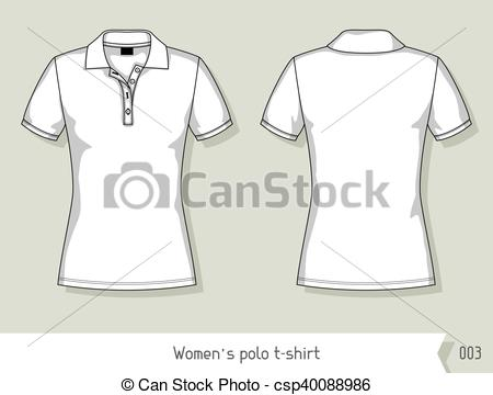 450x360 Women Polo T Shirt. Template For Design, Easily Editable By