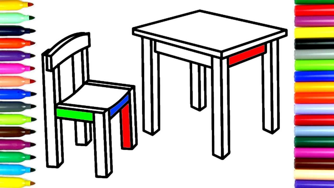 1280x720 Coloring Chair And Table How To Color Drawing Pages To Color