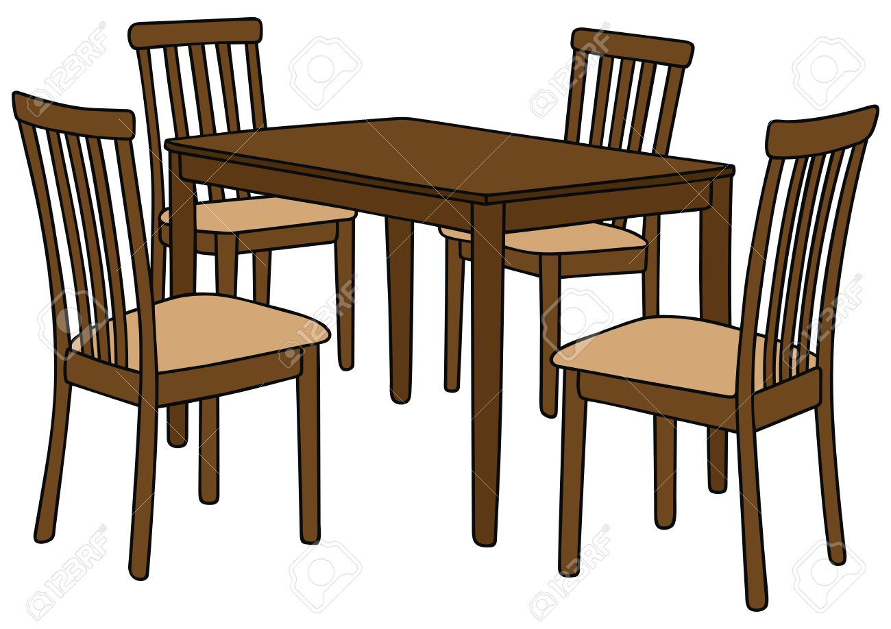 1300x918 Hand Drawing Of A Table And Four Chairs Royalty Free Cliparts