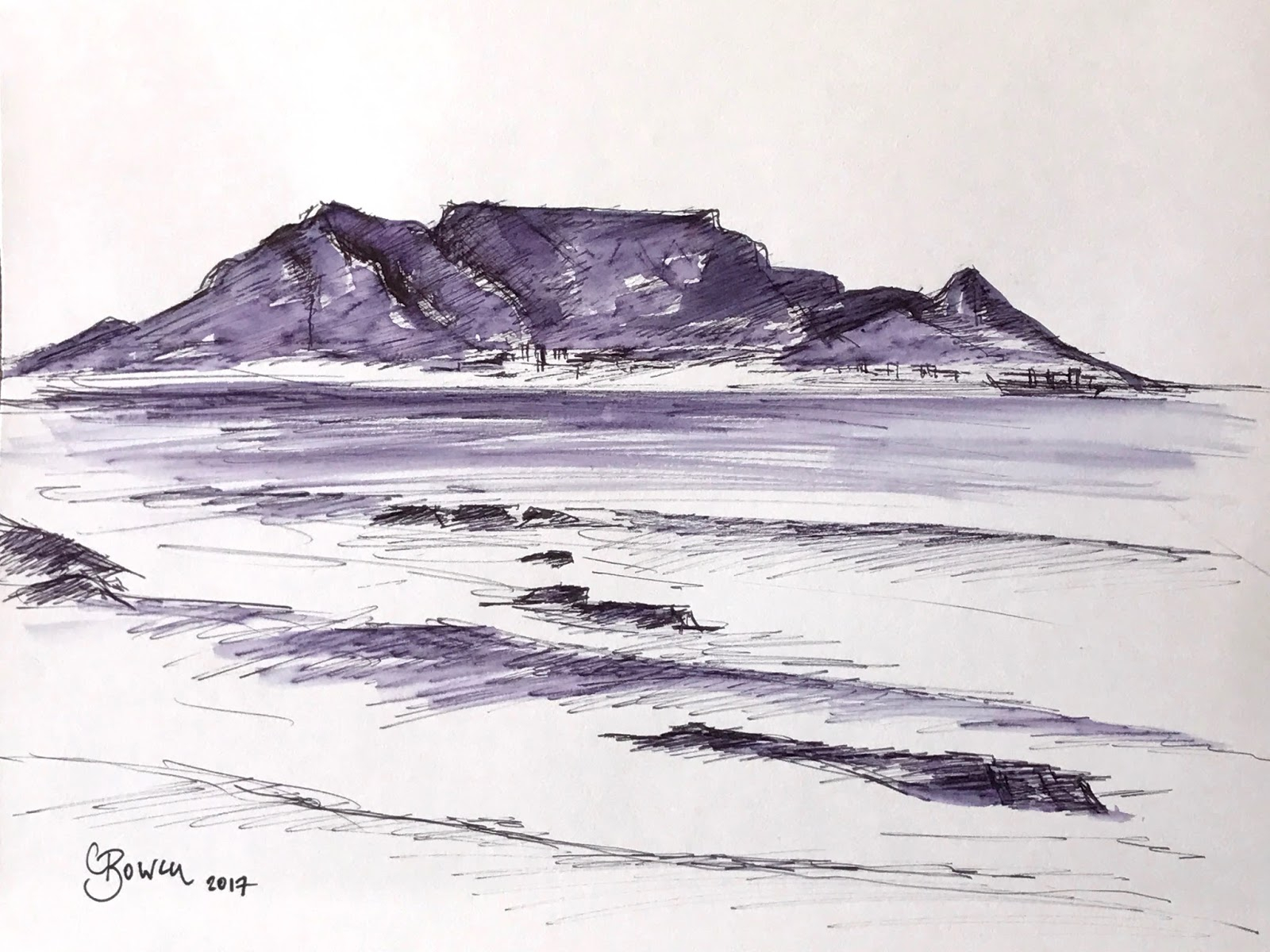 1600x1200 Drawing Of Table Mountain Clare Bowen Artist