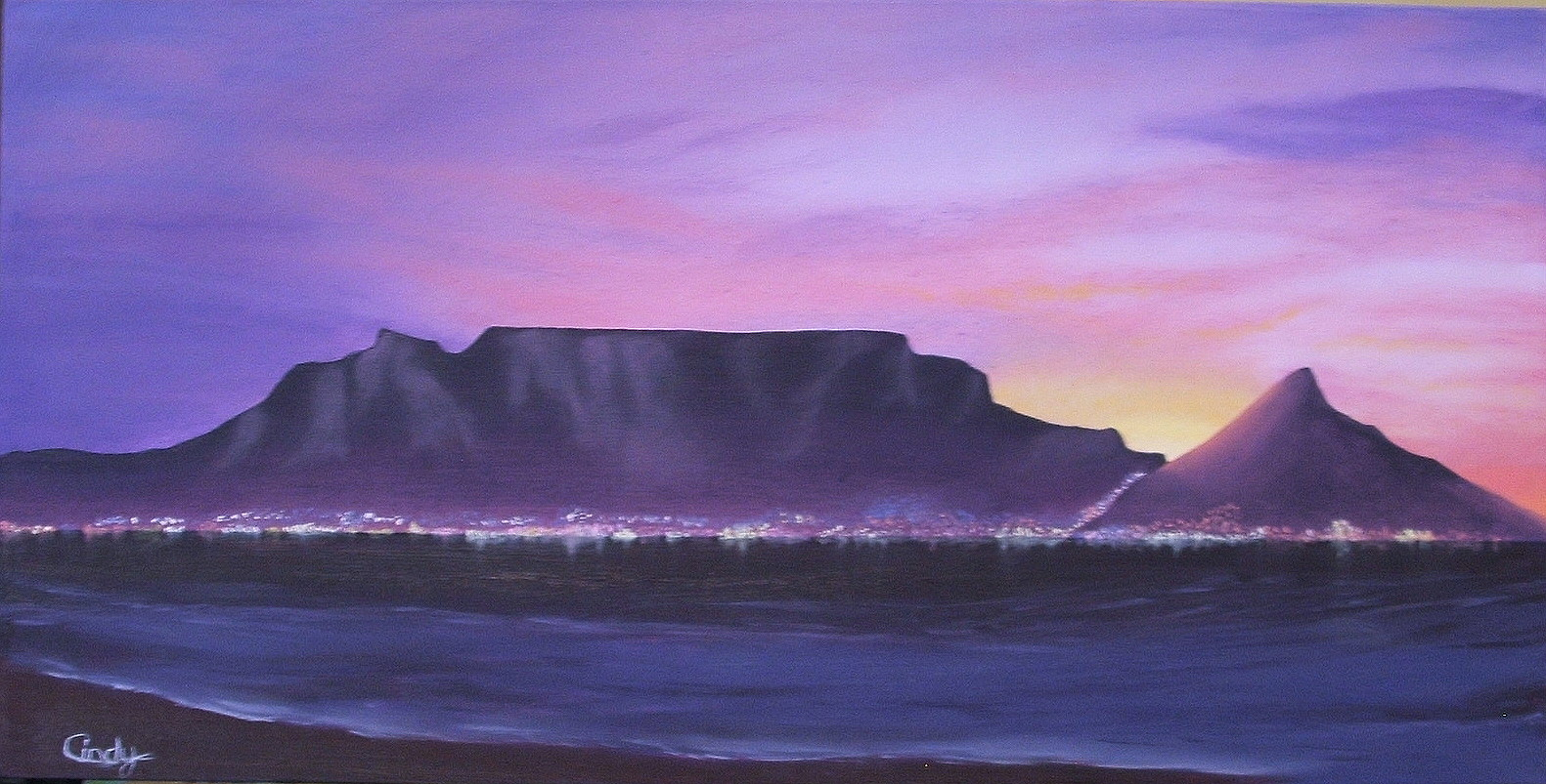 1581x803 Drawing Of Table Mountain Nolan Clark Artist 2011 August