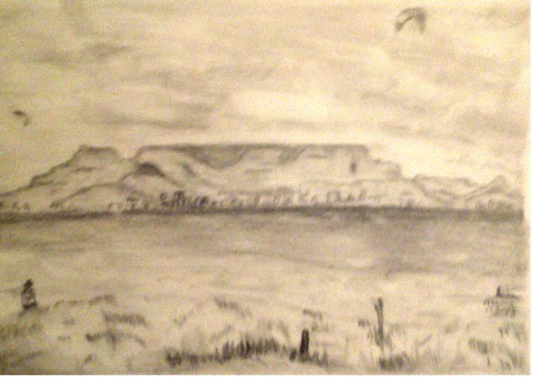 770x544 Saatchi Art Table Mountain South Africa Drawing By Hermanus Van