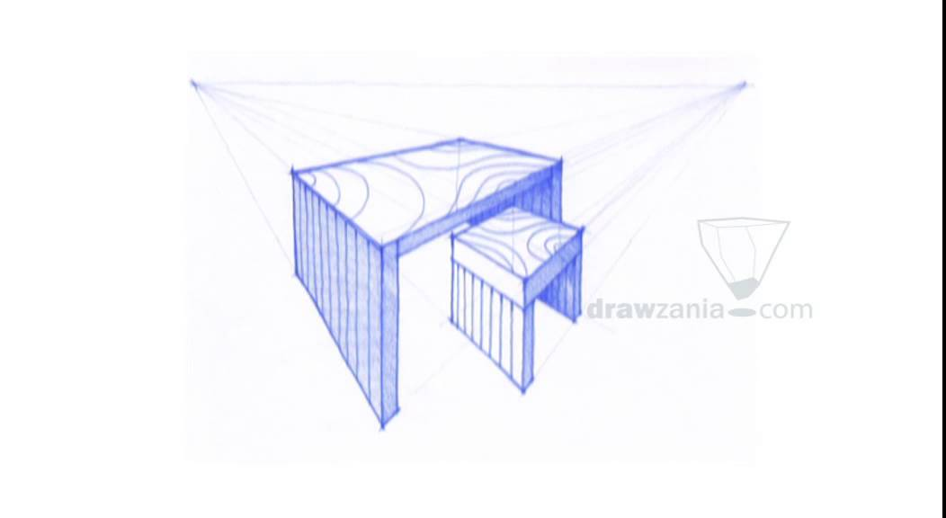1052x576 Perspective Drawing 072 Draw A Table And A Stool 2p