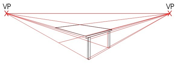 579x211 Two Point Perspective Drawing.