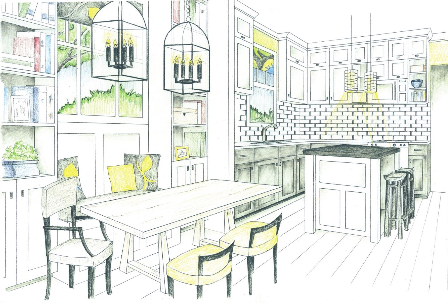 1537x1041 Dining Table Elevation Drawing