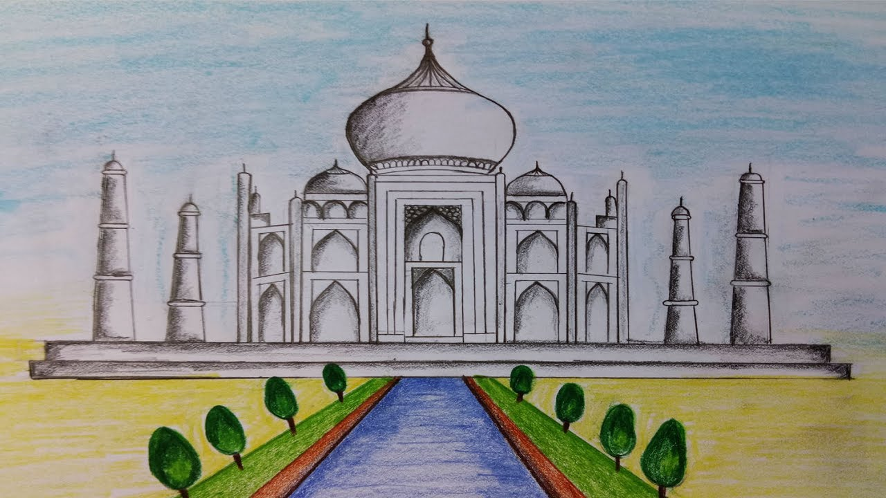 Taj Mahal Cartoon Drawing at GetDrawings.com | Free for personal use ...